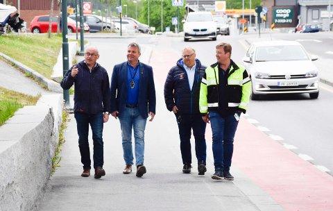 KOMPLETT: Terje Dahlen, Dag E. Henaug, Jostein Nybråten og Erik Josephson setter i verk en komplett opprusting av øvre Hønengata.