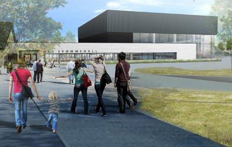 POPULÆR ARBEIDSPLASS: Nes Svømmehall skal stå ferdig til skolestart neste år. Mange vil bli første sjef i hallen.Tegning: Vindveggen Arkitekter AS