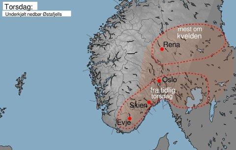 GLATT: Meteorologene advarer mot underkjølt regn i store deler av Østlandet torsdag. (Foto: Meteorologisk institutt)