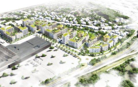Ved nitelva: Illustrasjonen viser hvordan «Kvarteret» vil framstå om noen år, dersom planene blir godkjent i Skedsmo kommune. Bygget nede til venstre er Norges Varemesse.  FOTO: obos