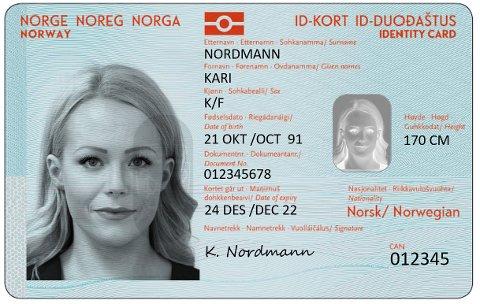 KANSKJE I JANUAR: Slik vil de nye ID-kortene se ut. De vil være klare tidligst i januar neste år, ifølge en ny statusrapport. Politiet / NTB scanpix