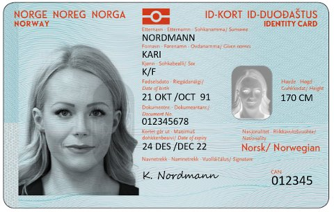 Nytt nasjonalt ID-kort, forside, sommeren 2018. Foto: Politiet / NTB scanpix