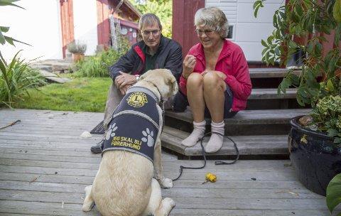MYE TRENING: Magne Nilsen og Berit Svens er fôrverter for Balder som kanskje skal bli førerhund i regi av Lions. – Vi synes det er flott å ha hund i huset, sier pensjonistene.