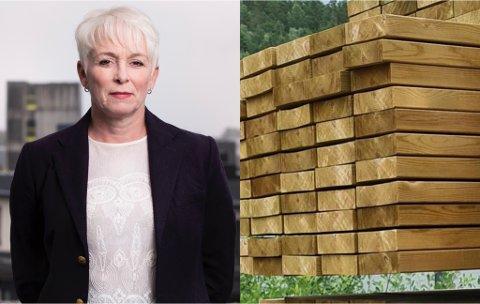 TRELASTKRISE: Salget av trebaserte byggevarer falt i august. produksjonskapasitet og tomme lagre er en utfordring i følge direktør i Treindustrien, Heidi Finstad.