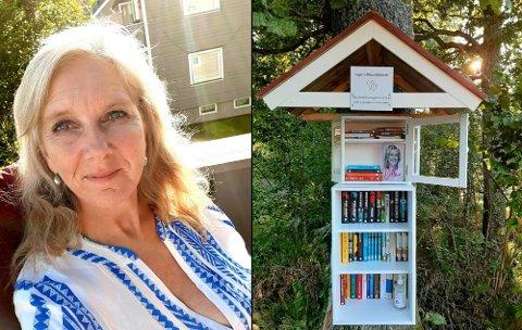 BØKER: Mikro-bibliotek til Inger Henriksen er etablert på Skjellvika. Lån en bok og lever gjerne en om du vil gi, står det på skiltet, i tillegg til: Husk at gode bøker er mat for sjelen.