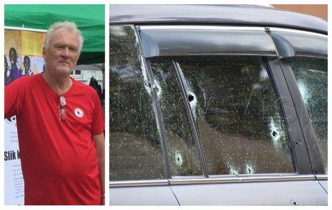DRAMA: Bjørn Skovly kom tett på det blodige dramaet då bilen til general og minister Katumba vart angripen. Sjåføren og dotter til generalen vart drepne.