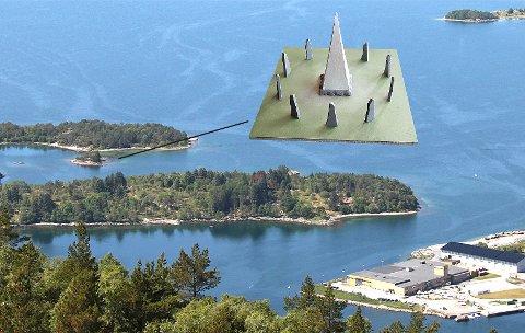 Et flertall av politikerne i forvaltningsutvalget sa nei til skulptur på Klungholmen (vist med strek), men foreslår at kunstneren heller søker om plassering på Jørpelandsholmen (i forkant).