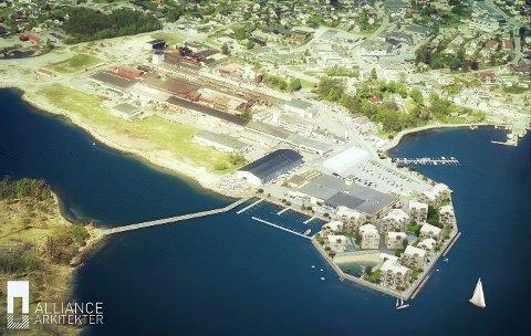 Fylkesmannen sier nei til Fjordbris sine planer om utfylling av steinmasser i sjøen, som skal gi plass til 290 leiligheter. Fjordbris vil klage på avslaget. (Skisse: Alliance Arkitekter)