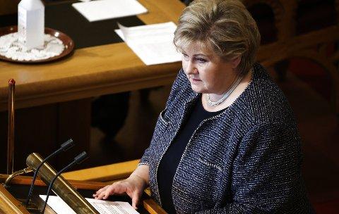 Statsminister Erna Solberg redegjør for Stortinget om regjeringens  håndteringen av koronapandemien. Foto: Ørn E. Borgen / NTB
