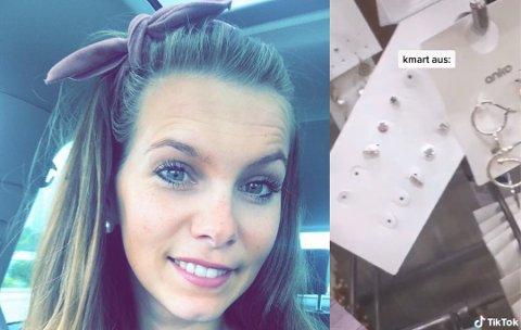 ADVARER: Caroline Marie Granøe er blant blere butikkdrivere som er på vakt for trenden som nå sprer seg i den populære bildedelingsappen TikTok. Foto:Privat/Skjermdump