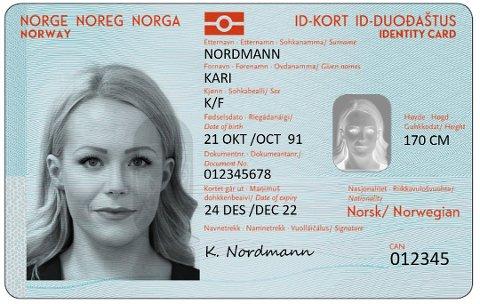 NYE ID-KORT: Dette utkastet fra 2018 viser hvordan de nye nasjonale ID-kortene skal se ut. Foto: Politiet