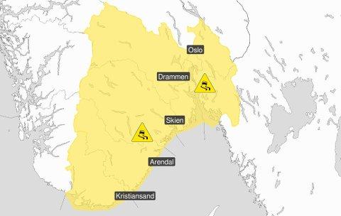GLATT! – Kjør etter forholdene, oppfordrer Meteorologisk institutt.