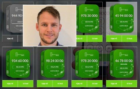 Til salgs: Martin Jensen (32) har rundt 200 telefonnummer han selger til ulike summer gjennom selskapet GullnummerAS. Foto: Privat/skjermdump