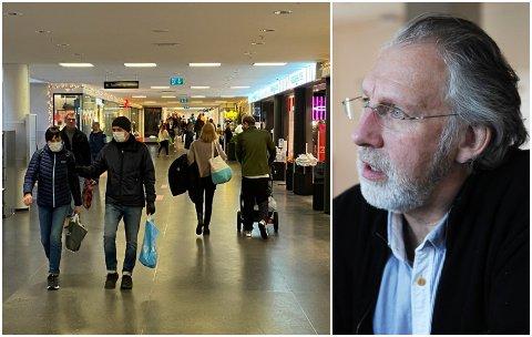 KRAFTTAK: Det er viktig at vi begrenser kontakten med alle mest mulig og bruker munnbind i butikker og andre steder hvor det kan være vanskelig å holde avstand, er budskapet fra helsepolitiker Carl-Erik Grimstad (V).