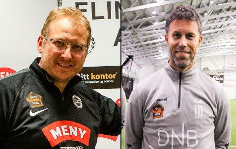 VÆR SÅ SNILL: Espen Røkaas, Flint fotball, og Ronny Johnsen, FK Eik Tønsberg, håper Formannskapet ser situasjonen til fotballagene deres, og lar de få trene og spille som normalt.
