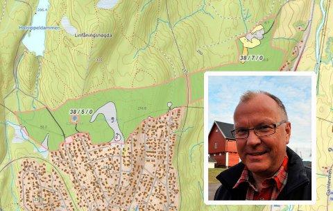 NORDFORSENTRUM:Kart over eiendommen Berger skog med Ole Feet innfeldt.