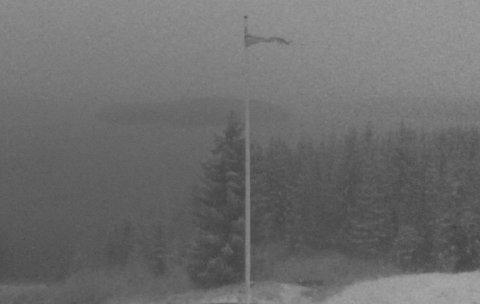 SNØVÆR:Torsdag morgen fra Kikut, som ligger cirka 350 meter over havet. Bildet er tatt med webkamera.