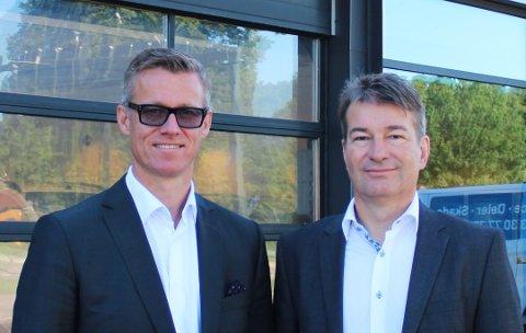 – PÅ DET JEVNE: Administrerende direktør Dag Liverød (t.h.), her med styreleder Grant Larsen, er fornøyd med fjorårets årsregnskap.