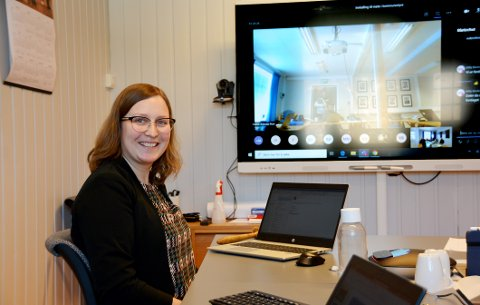 Teamsmøte: Ordfører Ingrid Waagen valgte digitalt møte med hensyn til de nasjonale retningslinjene.