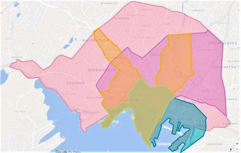 Dette er området byrådet ønsker skal bli fritt for fossile biler. Det grønne området utgjør Bilfritt Byliv-området, og her bor det ifølge VG 2.700 personer. I Ring 2-området, som dekker alt innenfor den ytterste rosa streken, bor det 155.000 mennesker.