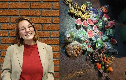 RETT I SØPLA: Isabelle Auby (25) og de andre aksjonistene fra Fremtiden i Våre Hender reddet kilovis med mat fra søppelkasser på Sagene. Nå krever de en matkastelov.