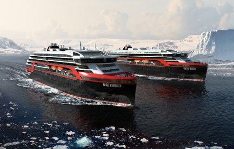 NYE SKIP: De nye hybridskipene fra Hurtigruten, MS Roald Amundsen og MS Fridtjof Nansen.