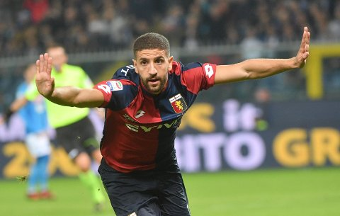 Genoa's Adel Taarabt celebrates after scoring his side's first goal during the Italian Serie A soccer match between Genoa and Napoli at the Luigi Ferraris stadium in Genoa, Italy, Wednesday, Oct. 25, 2017. (Luca Zennaro/ANSA via AP)