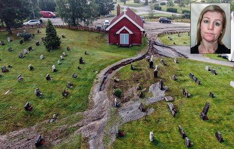 STORE SKADER: – Selv om det er store skader på kirkegården, førte uværet heldigvis ikke til skader på kirkebyggene i Eggedal, sier kirkeverge Mette Gabrielsen Flågan (innfelt bilde)..