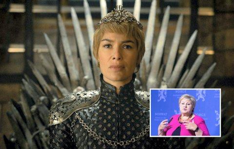 ERNA ER GOD: «Cersei er skikkelig fæl i serien og gjør mye som er grusomt. Erna Solberg derimot, er ei god dame.»