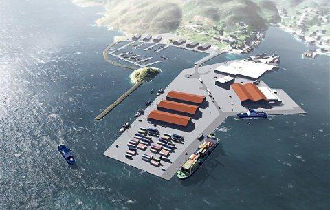 Slik ser planane for det enno ikkje fullførte fiskerihamn-prosjektet i Kalvåg ut.