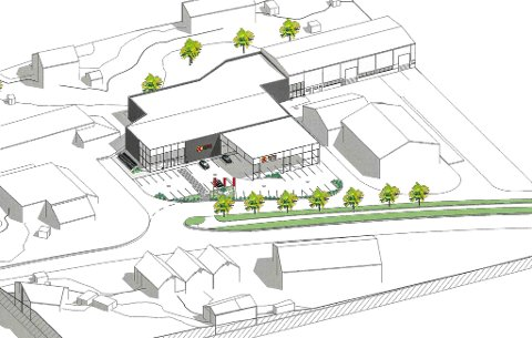 Den nye Coop Extra-butikken på Evja. Bygga til Niprox og Florø Rør i nedre bildekant til venstre.