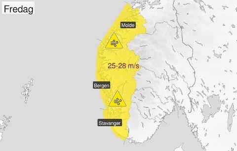 FAREVARSEL: Meteorologisk institutt har sendt ut farevarsel for vind på Vestlandet. Vinden aukar på utover dagen i dag, men vil avta i kveld og i natt.