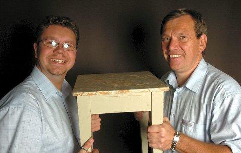 Jon Gåsvatn (til høyre) sier han varslet partileder Siv Jensen om Ulf Leirstein-saken allerede i 2012. Gåsvatn og Leirstein knivet om å vinne Østfold-nominasjonen i 2012.