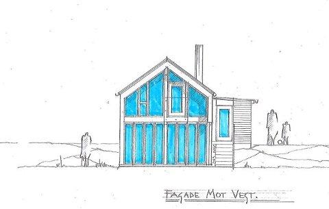 Ny fasade mot stranden: Slik har aritekten tegnet den nye hytta i strandkanrten i Saltnes.