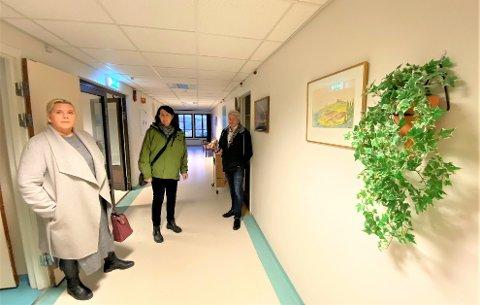 Anita Nock (Frp), Marianne Kristiansen (Pp) og Bjørnar Laabak (Frp) ble enda mer overbevist om at det er riktig å gjenåpne Emil Mørchs Minne. Her er de i andre etasje, som fortsatt har inventar fra sykehjemmet var i bruk.