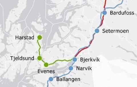 NORGE SIER JA: Nye tall viser at seks av ti nordmenn ønsker jernbane fra Fauske i Nordland til Tromsø. Foto: Jernbanedirektoratet