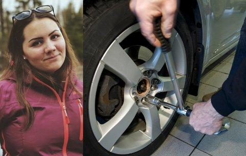 OMDISKUTERT PRAKSIS: Mange har kommentert på saken om Mari Iselin Bergh Bråtesveen som tar på seg ekstrajobb med å skifte hjul på privatbiler. Nå svarer Statens vegvesen på hva som er lov.