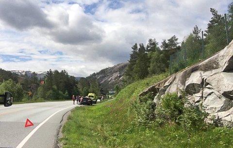 Frontkollisjon på  E134 2. Pinsedag.