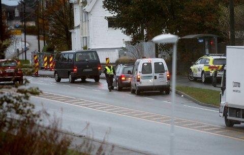 Promillekontroll i Karmsundsgata tirsdag. Det resulterte i null utslag.