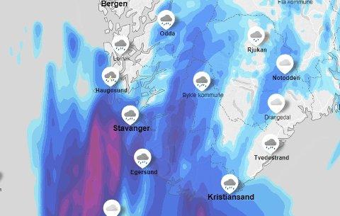 KRAFTIG LAVTRYKK: Fredagsværet er høyst usikkert. Dersom lavtrykket, som har fått eget navn i Irland, treffer Vestlandet, kan det komme store mengder regn.