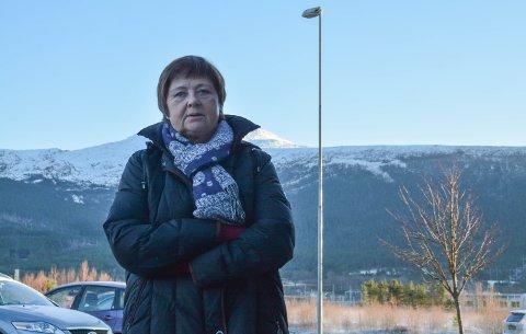 FRYKTAR VINDKRAFT: Talskvinne for aksjonsgruppa «Nei til vindmøller i Kvinnherad», Annemor Ekeland, fryktar fjella i bakgrunnen vil få mange vindturbinar dersom Kvinnherad vinn kampen om ein ny batterifabrikk. Kommunen avviser påstanden.