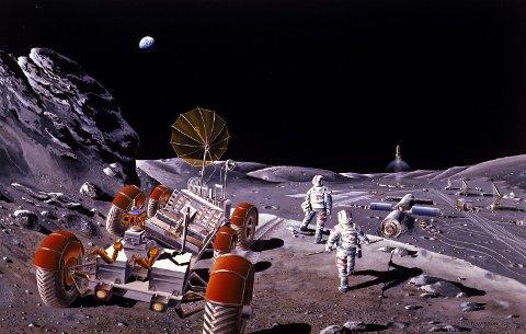 Kunstnerisk fremstilling av en fremtidig månebase. Illustrasjon: NASA/Dennis M. Davidson