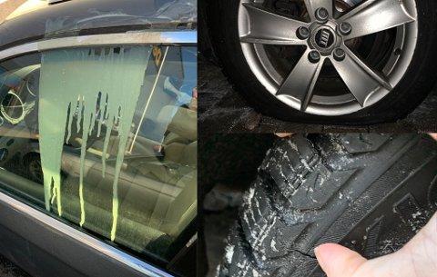 HÆRVERK: Vandalene hadde helt lim på bilen og kuttet opp to av dekkene med kniv. Foto: Privat