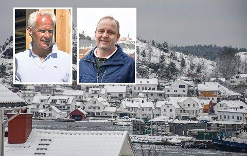 BLE FRIKJENT: Kragerø kommune ble frikjent i retten, og dommeren ga dermed kommunen rett i at de kan holde tilbake sluttsummen for takstjobben på 413.500 kroner. Innfelt til venstre er takstmann Ole C. Torgersen, mens til venstre er ordfører Grunde Knudsen.