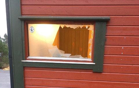 Slik såg det ut etter at Irgens måtte vinka med ein gjenstand gjennom vindauget. (Foto: Privat).