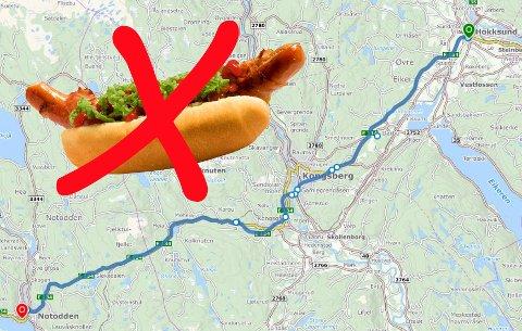 NY E134: 49 kilometer uten pølse.