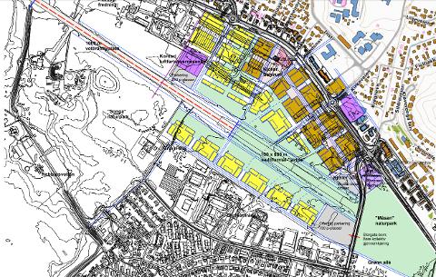 FORSLAG: Dette er arkitektenes forslag for Kjeller. De vil bevare en del av flystripa og bygge boliger, næringslokaler, hotell, kulturhus og luftfartøyvernsenter. Dessuten har de et grøntdrag gjennom hele området. Gul farge er boligblokker. Brun farge er boligblokker med næringslokaler i første etasje.