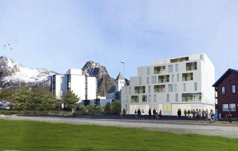 Skisse: Slik kan det bli i Sivert Nilsens gate 13. Bygget er her illustrert med plassering på kommunal tomt mopt Lofotgata.