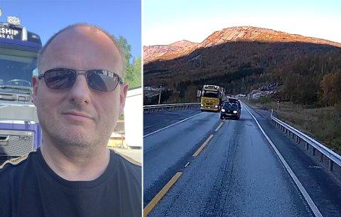 Det gikk nesten galt da yrkessjåfør Michael Christiansen kom ut av Kråkmotunnelen. Se videoen i saken. Foto: Privat
