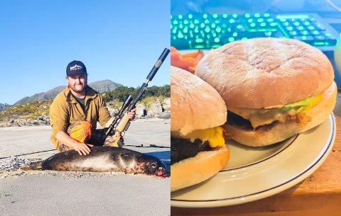 TRUSLER PÅ INSTAGRAM: Simen Five (25), som bor i Svolvær, fikk flere drapstrusler da han la ut bildet av seg og den skutte steinkobben på Instagram. Selkjøttet lagde han blant annet disse burgerne av.